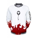 Popular Fire Pattern Rib Stand Collar Long Sleeve White Baseball Jacket