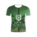 Popular Letter SKULL RAIN Skull Printed Round Neck Short Sleeve Green T-Shirt