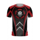 Popular Game Skull Printed Cosplay Costume Short Sleeve Round Neck Red T-Shirt