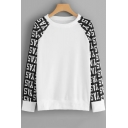 Cool Letter Printed Raglan Long Sleeve Round Neck Loose Casual White Pullover Sweatshirt