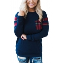Hot Popular Plaid Patched Round Neck Long Sleeve Dark Blue Casual Tee