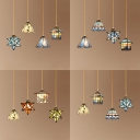 Shop Multi-Color Pendant Light Stained Glass 4 Lights Tiffany Vintage Hanging Light with Brass Linear Canopy