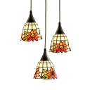 Stained Glass Bead/Sunflower Pendant Light Dining Table 3 Lights Tiffany Vintage Hanging Light