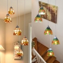 Stained Glass Sunflower/Victorian Hanging Light 5 Lights Ceiling Pendant for Swirled Stair