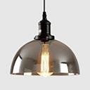 Dome Shade Corridor Ceiling Light Smoke Gray Glass Single Light Industrial Suspension Light