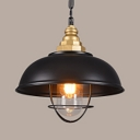Retro Loft Pendant Light One Light Metal Hanging Lamp with Cage in Black for Hallway Balcony