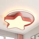 Acrylic Star LED Ceiling Mount Light Child Bedroom Cartoon Macaron Colored Flush Light in Warm/White