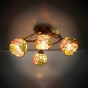 Stained Glass Rose Semi Flush Mount Light 4 Lights Tiffany Rustic Ceiling Lamp for Bedroom