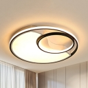Acrylic Ring LED Flush Ceiling Light Study Room Contemporary Ceiling Fixture in Warm/White