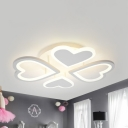 Study Room Four-Heart Ceiling Fixture Acrylic Cartoon Warm/White Lighting LED Semi Flush Light