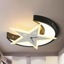 Crescent Star Nursing Room Ceiling Mount Light Metal Creative Black LED Ceiling Lamp in Warm/White