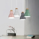 Gray/Green/Pink/White Hanging Light One Light Macaron Loft Aluminum Pendant Lamp for Office