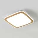 Acrylic Square LED Ceiling Mount Light Study Room Japanese Style Flush Light in Warm/White