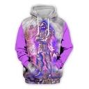 New Stylish Cool 3D Game Figure Printed Long Sleeve Sport Loose Purple Hoodie
