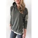 Womens Chic Simple Solid Color Button Embellished Side Long Sleeve Patched Army Green Hoodie