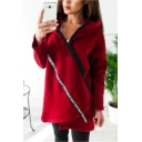 Womens Simple Letter Print Irregular Zipper Side Long Sleeve Tunic Casual Hoodie