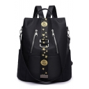 Stylish Stars Print Tape Patched Double Zipper Embellishment Oxford Cloth School Backpack Casual Travel Bag 32*15*36 CM