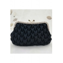 Popular Fashion Plain Ruffled Rhinestone Embellishment Black Evening Clutch Bag 21*4*14 CM