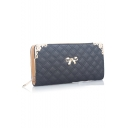 Fashion Plain Diamond Check Quilted Bow Embellishment Clutch Purse 21*3*10.5 CM