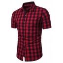 Classic Fashion Plaid Printed Short Sleeve Button Front Slim Fit Shirt for Men