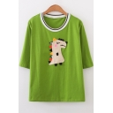Girls Cute Cartoon Dinosaur Embroidery Round Neck Short Sleeve Loose Casual T-Shirt