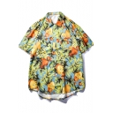 Summer Trendy Tropical Fruits Pattern Blue Casual Loose Short Sleeve Shirt for Guys