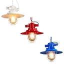 Creative Wire Frame Hanging Light 1 Light Wrought Iron Suspension Light in Blue/Red/White for Factory