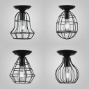 Wire Frame Porch Ceiling Mount Light Metal One Light Industrial Stylish Ceiling Lamp in Black