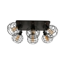 Rotatable Antique Sphere Flush Light with Cage Metal 6 Lights Black Ceiling Mount Light for Cafe