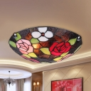 Dome Living Room Flush Ceiling Light with Rose Stained Glass Rustic Stylish Ceiling Lamp
