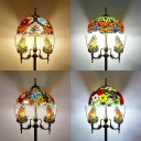 Vintage Multi-Color Floor Lamp Dome Shade 5 Lights Glass Standing Light with Butterfly for Bedroom