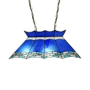 Mediterranean Style Island Light 4 Lights Stained Glass Island Lamp in Blue for Restaurant