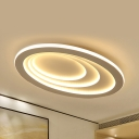 Eye-Caring Ring Ceiling Lamp Contemporary Metal LED Flush Mount Light in Warm/White/Third Gear for Bedroom