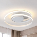 Acrylic Swirl Ceiling Mount Light Bedroom Contemporary Black/White LED Ceiling Lamp in Warm/White