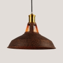 Antique Style Barn Shade Hanging Light 1 Light Metal Suspension Light in Rust for Factory