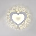 Abstracted Pattern/Heart LED Ceiling Light Acrylic Modern Flush Light in Warm/White for Boys Girls Bedroom