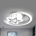 Crescent & Star Semi Ceiling Mount Light Modern Acrylic LED Ceiling Lamp in Warm/White for Kindergarten