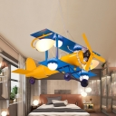 Metal Propeller Airplane Hanging Lamp Child Bedroom Cartoon Cool LED Pendant Light in Blue & Yellow