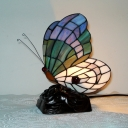 Stained Glass Butterfly Desk Light Bedroom 1 Light Creative Tiffany Table Light with Plug-In Cord