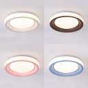 Acrylic Round LED Ceiling Lamp Living Room Modern Nordic Flush Ceiling Light in Blue/Coffee/Pink/White