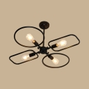 Modern Circle&Rectangle Semi Flushmount Light 4 Bulbs Metal Ceiling Light in Black for Restaurant