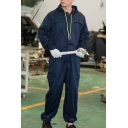 Men's Fashion Solid Color Long Sleeve Drawstring Hooded Dust-Proof Workwear Mechanic Coveralls