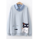 Cute Cartoon Cat Fish Embroidery Long Sleeve Loose Casual Pullover Sweatshirt for Students