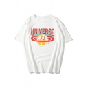 Cool Simple Letter UNIVERSE Hip Hop Style Round Neck Casual Loose Graphic T-Shirt