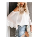 Summer Women's Trendy Off the Shoulder Bell Sleeve Holiday Chiffon Blouse Top