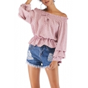 Summer Classic Stylish Polka Dot Printed Ruffled Off the Shoulder Puff Sleeve Blouse Top