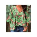 Women's Summer Hot Popular Floral Pattern V-Neck Bell Sleeve Loose Casual T-Shirt