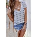 Stylish Crisscross V-Neck Short Sleeve Striped Printed White T-Shirt