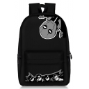 Hot Fashion Figure Printed Large Capacity Black School Bag Backpack 28*14*47 CM