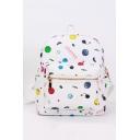 Fashion Letter Emoji Printed White PU Leather Zipper School Bag Casual Backpack 26.5*12*35 CM